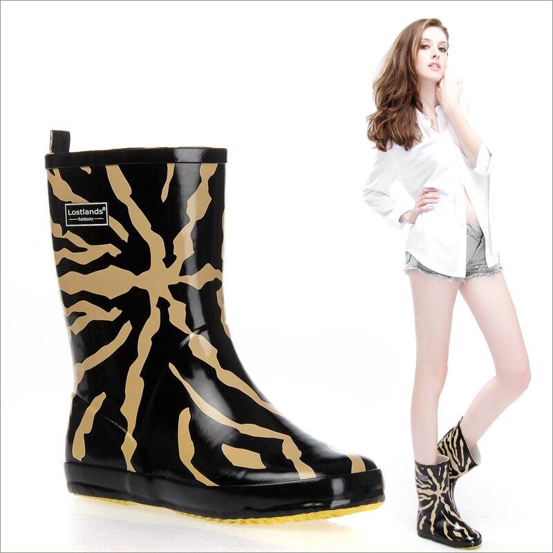 women mid-calf boots rubber rain boots fashion leopard boots waterproof wear antiskid boots for women boots bagatt boots