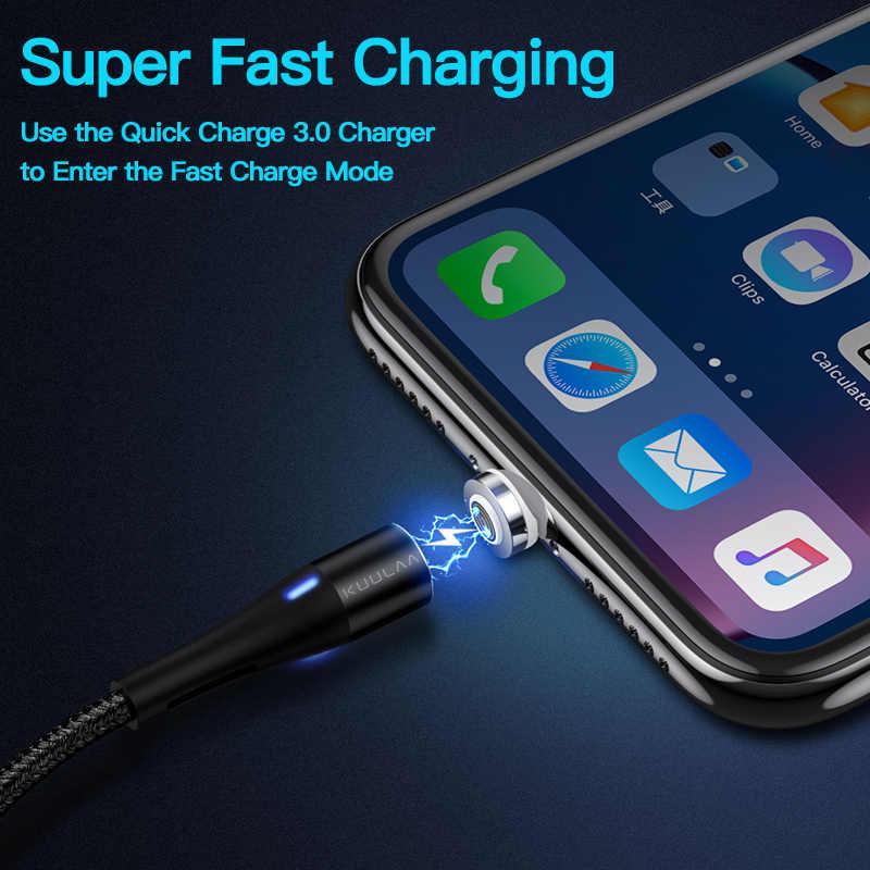KUULAA USB مغناطيسي صغير كابل يو إس بي C 3A سريعة محول للشحن ل فون سامسونج XiaoMi شاحن المغناطيس سريع شحن نوع C الحبل