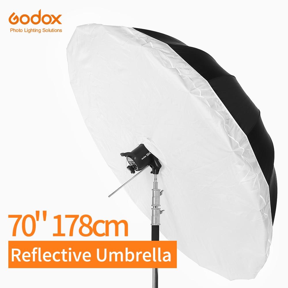 Godox 70 Inch 178cm Silver Black Reflective Umbrella Lighting Light Umbrella With Large Diffuser Cover