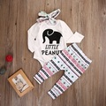 3 PCS. Newborn baby clothes 0-18M Infant Bebes elephant Long Sleeve Shirts + hair band Baby Pants Boys Girls Clothing Set DXT370