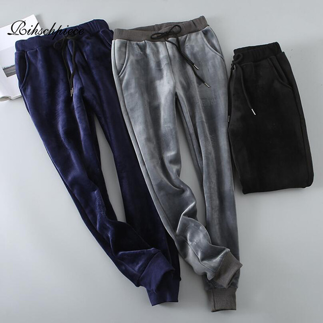 Rihschpiece Winter Velvet Pants Women Thick Elastic High Waist Harem Pant Warm Loose Fleece Sweatpants Trousers RZF1548