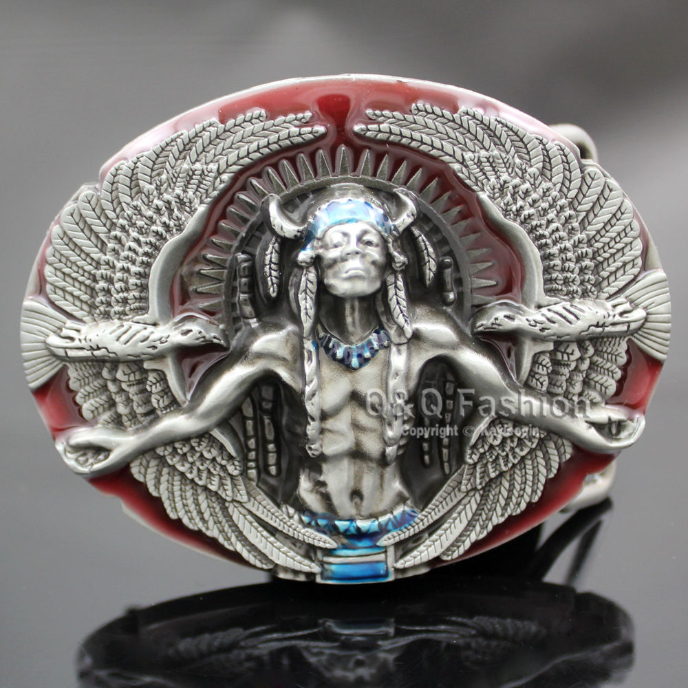 Vintage Silver Tribal 3d Indian Chief Arrow Head Rodeo Zuni Navajo Leather Tactical Designer Belt Cinto Buckle Men Jewelry Apparel Accessories