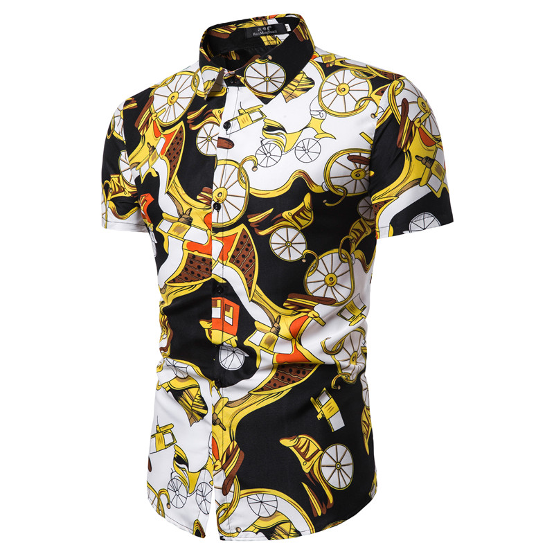 Casual Shirts Print Top With V Neckline Slim Fit Men's Shirts Summer Short Sleeve Shirt For Men Fashion Men Shirt D30