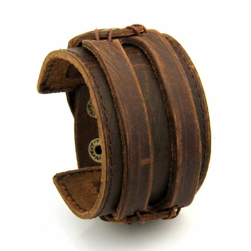 Modyle בציר פאנק רטרו רב שכבתי עור צמיד זכר אופנה קלוע בעבודת יד חבל לעטוף צמידים & צמידי גברים