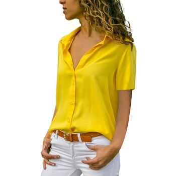 Nuevo verano primavera mujer camisa Casual manga corta sólido cuello vuelto blusas cabeza botones regulares blusas de talla grande S-5XL