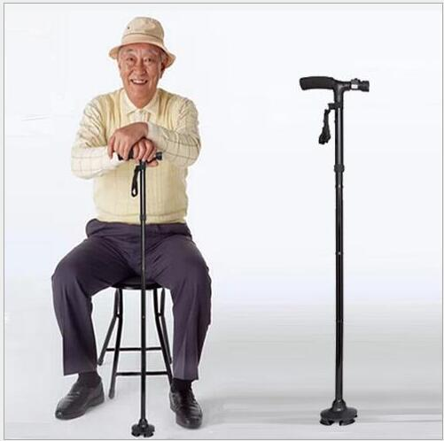Carbon Stick Nordic Walking Ultra-light Handle Folding Cane with Built-in Light Walking Magic Fold Trusty