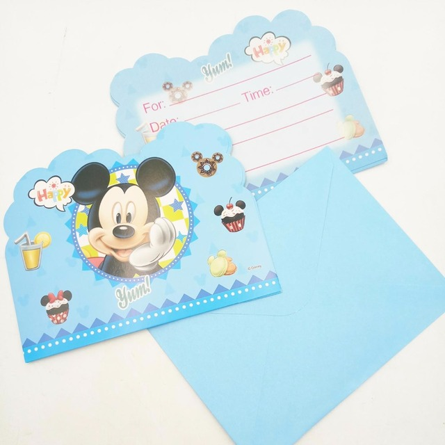 6pcs Lot Mickey Mouse Invitations Baby Shower Mickey Mouse