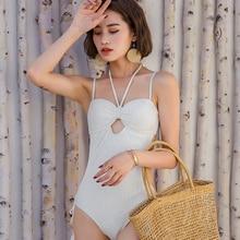 2019 new swimsuit white pattern bikini authentic one-piece brand design Chinese style summer swimming