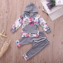 New 2017 Baby Clothing Floral Newborn Baby Girls Clothes Hooded Tops +Pants Home Outfits 2Pcs Set