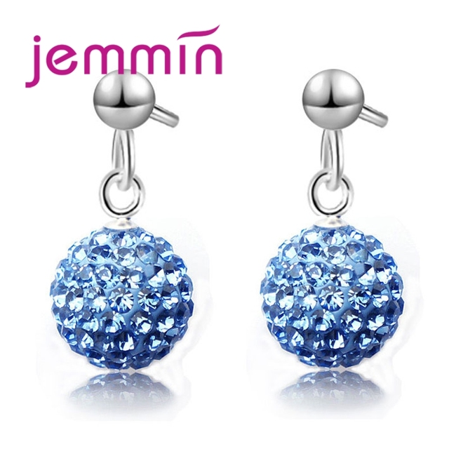 Jemmin Hot Sale Factory Price Multicolor Ball Shape S90 Silver Color Pendant Earrings For Women Girls Accessories Jewelry