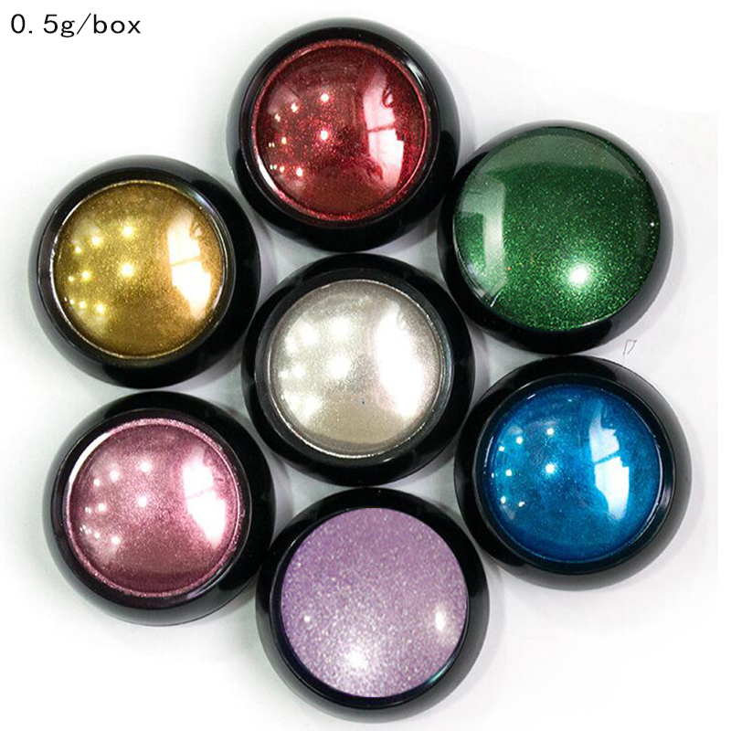 0 5g box Nail Mirror Powder 7Colors Metallic Effect Powder Chrome Nail Art Fine Glitter Dust UV Gel Nail Polish Pigment Powder in Nail Glitter from Beauty Health