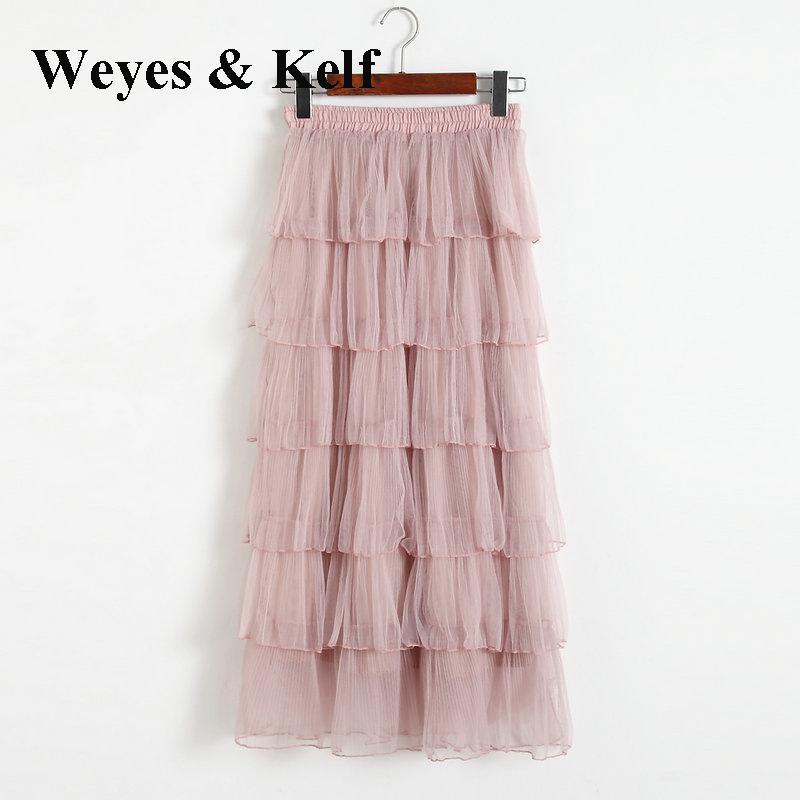 Weyes & Kelf Sweet Spring Ruffles Skirts Long Black Skirts Women 2018 Summer Ruffles Layers Cake Tulle Skirt For Women Beach
