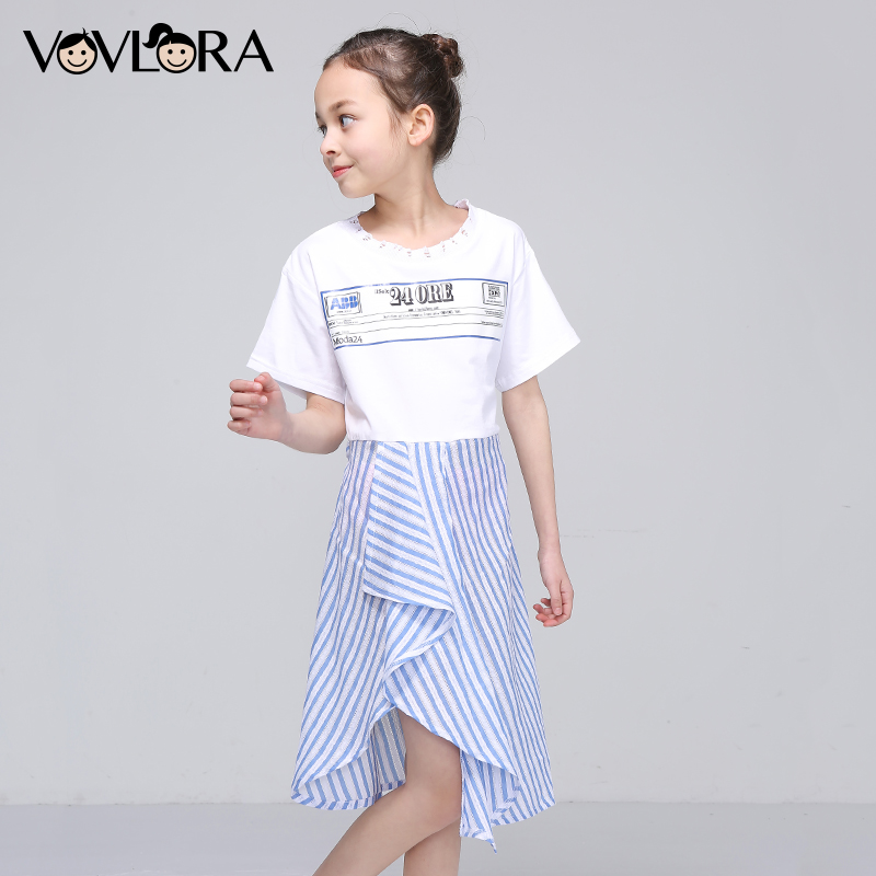 Short Sleeve Striped Sashes Girls Dress Print Letter A Line O-neck Kids Dresses Fashion Summer 2018 Size 9 10 11 12 13 14 Years striped print color block cami dress