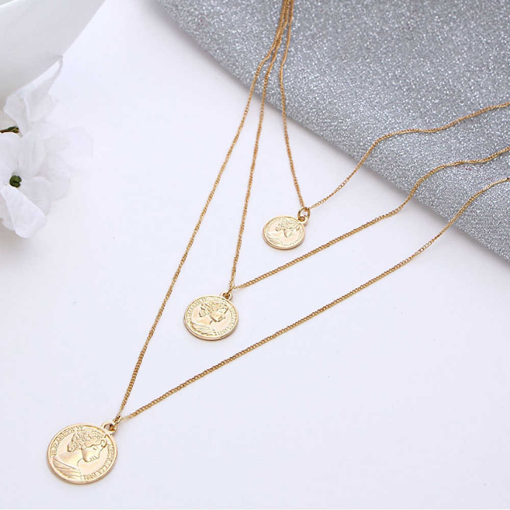 Occident popular Retro Figure Face three floors Necklaces fashion Jewelry Charm Women Party Accessories Gift 1pcs