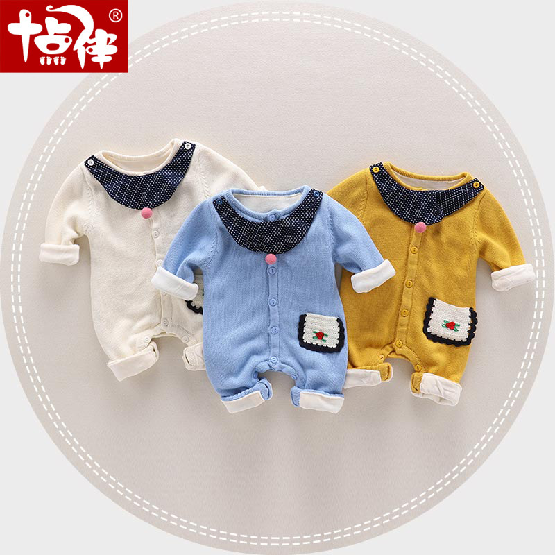 Cartoon baby knitted romper fleece lining baby girl boy rompers boutique new born baby clothes thick warm baby winter clothing cartoon baby rompers costumes fleece newborn baby girl boy clothes winter overalls roupa bebes animal next clothing warm clothes