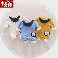 Cartoon Baby Knitted Romper Fleece Lining Baby Girl Boy Rompers Boutique New Born Baby Clothes Thick