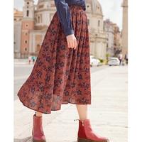 INMAN A Line Flower Printing Elastic Bohemian Style Women Bottom Skirt