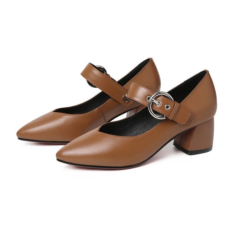 En Mode automne Pour Cuir Rxemzg brown Boucle gray Chaussures Femme Casual Talons Femmes Véritable Black Printemps Pompes 2019 Nouveau qAxgvwfO
