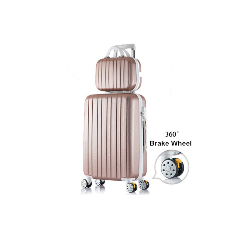 High quality korea fashion 14 24inches abs+pc hardside travel luggage bags on universal wheels for girl and boy,trolley luggage