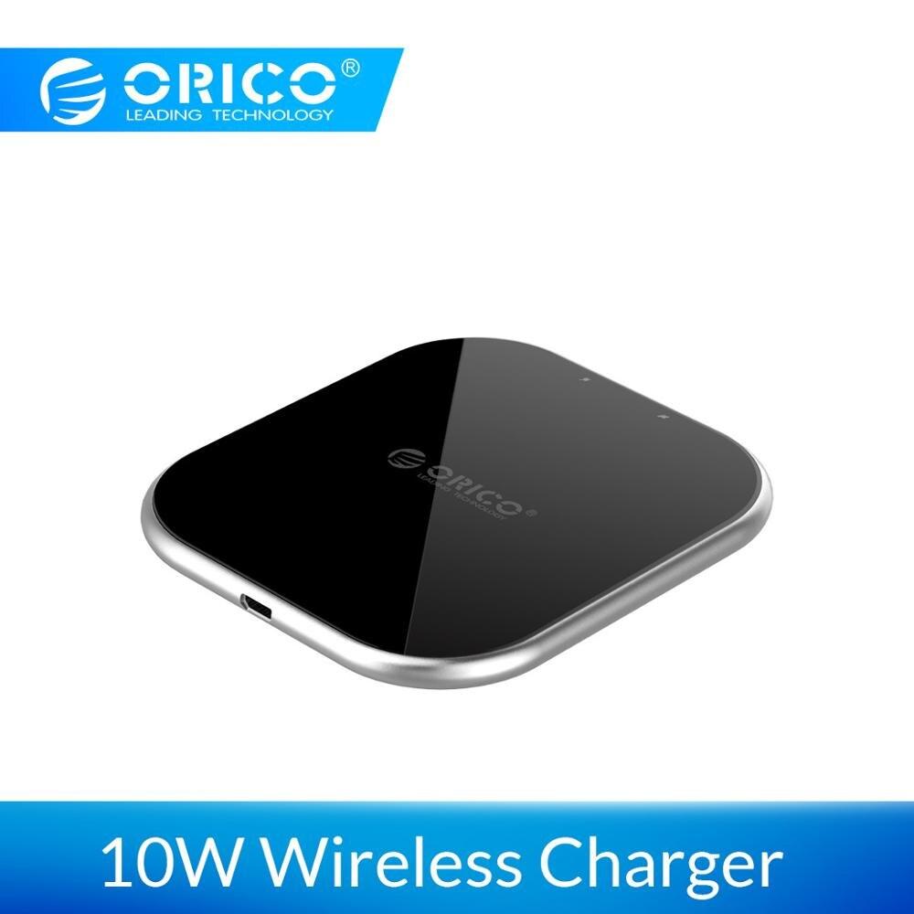 58d39b0e4cc ORICO 10 W Qi cargador inalámbrico para iPhone X 8 XS USB 5 V 9 V de carga inalámbrica  para Samsung galaxy S8 S9 S7 Qi cargador USB inalámbrico