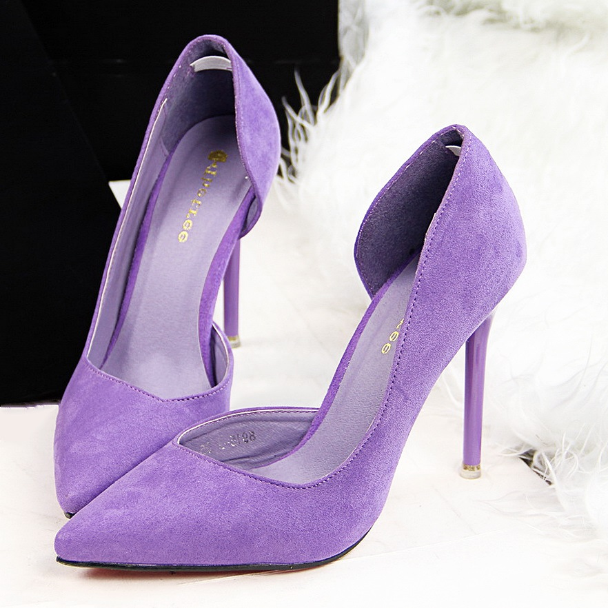 Faux Suede Women Pumps High Heels Women Shoes Fashion Lady Shoes Pointed Toe Thin Heels Ladies Shoes 2018 New Party Shoes Woman