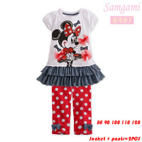 New Design Fashion Baby Girls Cotton Cartoon Minnie Pink Lace T Shirt Dot Pants Set Brand