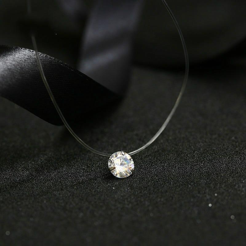 2019 Female New Heart Star Necklace Meteorite Pendant Transparent Fishing Line Invisible Women Zircon Pendants Necklace Jewelry