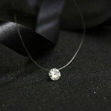 Новинка, женское ожерелье с сердечками и звездами, подвеска метеорит, прозрачная леска, невидимая Женская циркониевая подвеска, ожерелье, ювелирное изделие