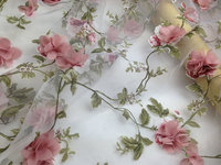 3D Rosette Fabric Printed Organza Lace Fabric With 3D Flowers Bridal Lace Fabric