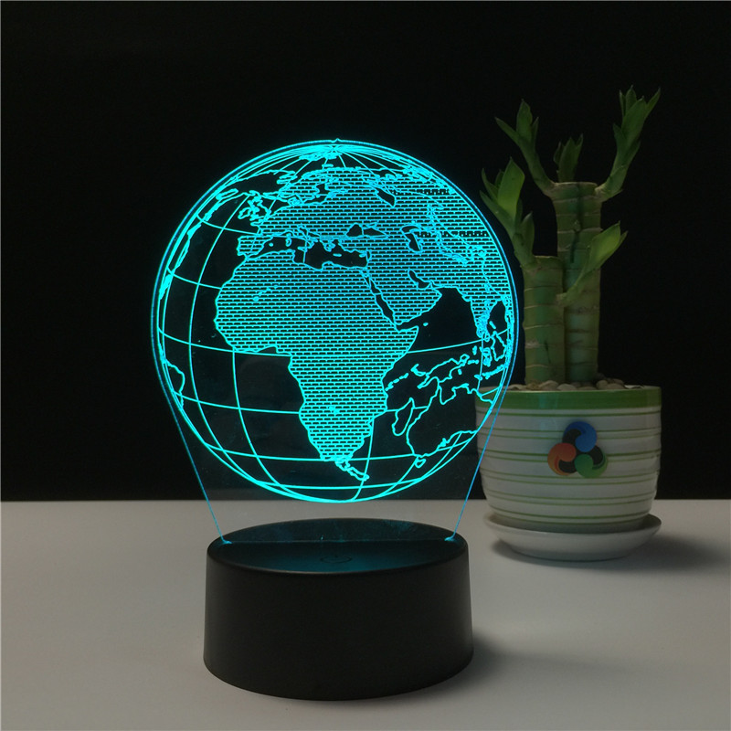 3D Visual Map Globe LED Night Light For Decoration Ball Atmosphere Night lamp Christmas USB Touch Table Lamp Christmas Gift image