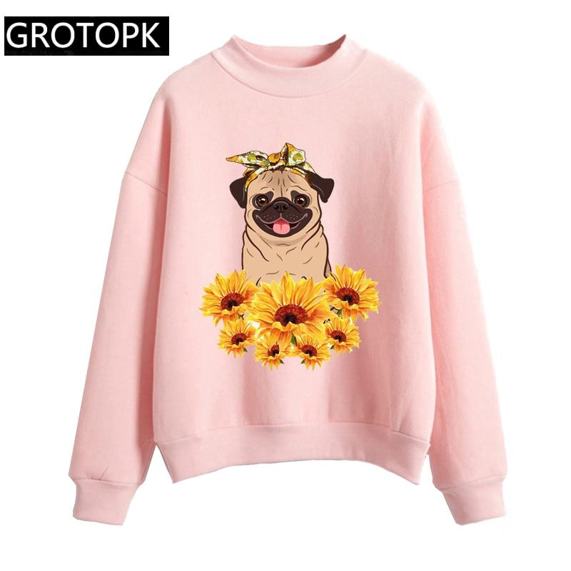 Dog Mom Pug Sunflower Women's Hoodeis Harajuku Fleece Long Sleeve Casual Pink&white Sweatshirt Print Kawaii Korean Hoody Clothes