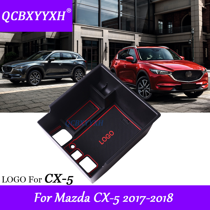 QCBXYYXH Car Styling For Mazda CX-5 2017 2018 Car Center Console Armrest Storage Box Covers Interior Decoration Auto Accessories 1pc car center console armrest box sticker decal wrap guard protector cover for tesla model s model x auto interior accessories
