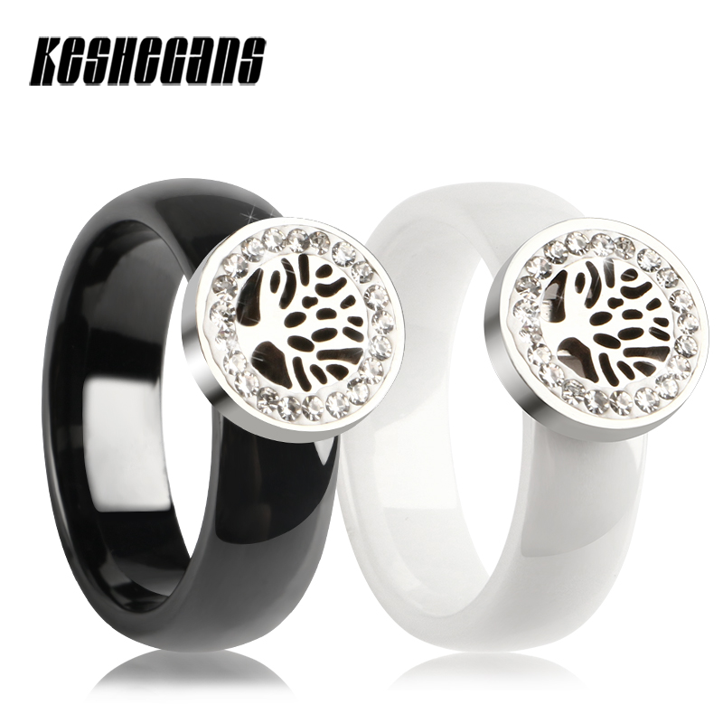 Hollow Life Of Tree With Circle Of Crystal Drill Ceramic Ring 6mm Wide Women Wedding Fashion Party Jewelry Best Gift For Friends tl hot sale life tree ceramic bracelet stainless steel hollow life tree flake white ceramic circle charm bracelet for women gift