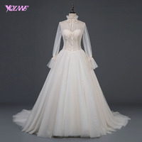 YQLNNE 2018 European Champagne Wedding Dress with Jacket Sweetheart Beading Tulle Lace up Bridal Gown