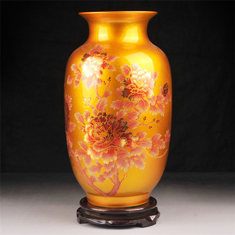 Buy glazed peony flower ceramic vases for for Home decor vases