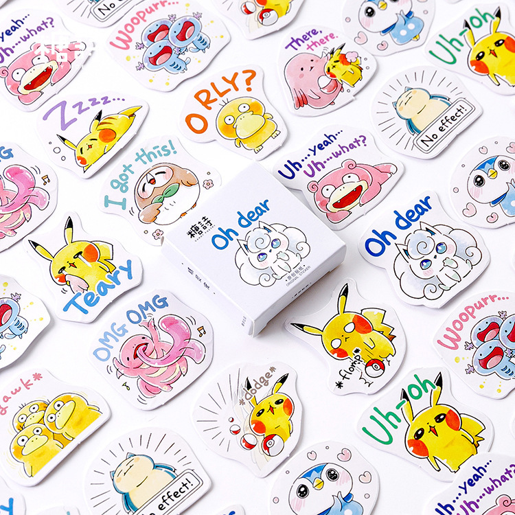 45PCS Japanese Fashion Funny Pokemon Stickers 4.4*4.4cm Scrapbook Stickers  Journal Stickers  Kawaii Kids Stationary