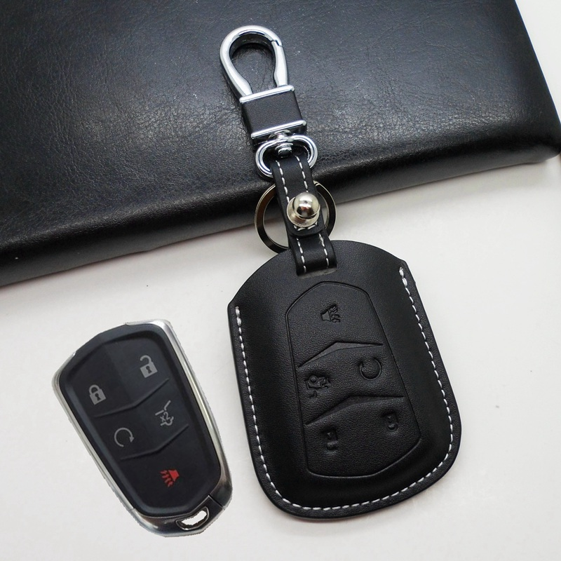 Leather Car Key Fob Cover Holder For Cadillac CTS ATS 2015