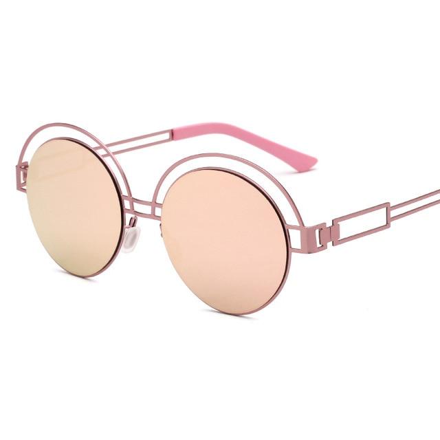 Half Metal Designer Mirror Round Sunglasses Women New Women s Sunglasses  Fashion Lenses Sun glass Vintage Sunglasses Mirror 18ccf59d99