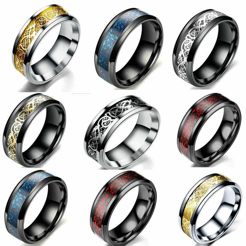 7-11 جديد التنغستن حلقة كربيد الأسود سلتيك التنين الأزرق الكربون الألياف مجوهرات الزفاف الرجال خواتم