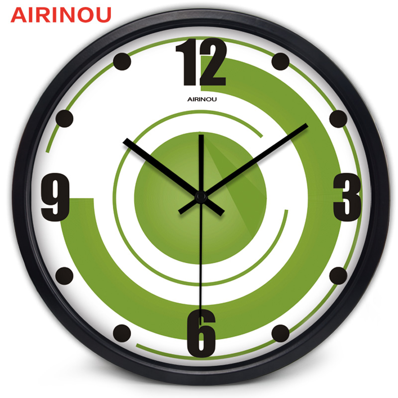 Airinou Circular creative abstract modern living room wall clock Nordic Green Circle character bedroom large quartz clock