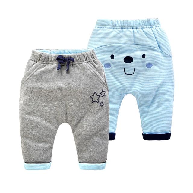 Зимние Детские брюки новорожденный толстые хлопчатобумажные брюки ребенка выстроились брюки брюки