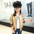2016 Autumn Kids Girls Spring Jacket Clothes Casual Pu Leather Cardigan Girls Coats And Jackets Motorcycle Outwear Gold Chidren