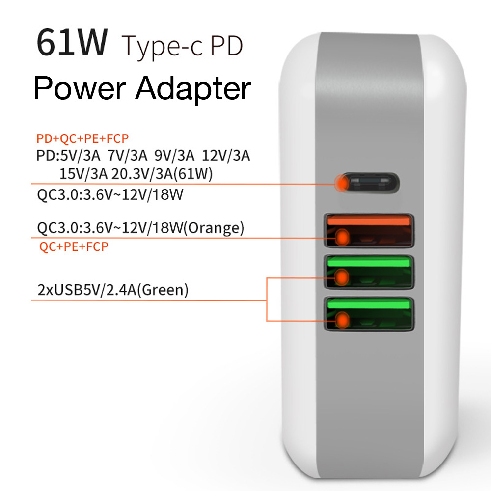 TYPE-C USB C Power Adapter PD 61W QC3.0 18W Charger For Huawei/Samsung/Google For iPad iPhone MacBook ( USB-C cable)