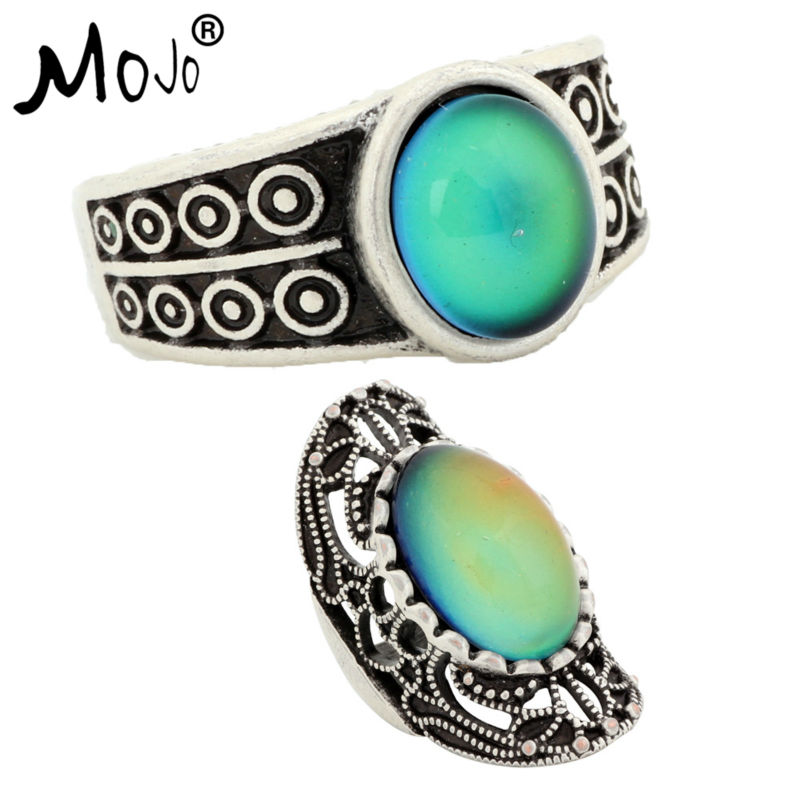 2PCS Vintage Bohemia Retro Color Change Mood Ring Emotion Feeling Changeable Ring Temperature Control Ring RS007RS034