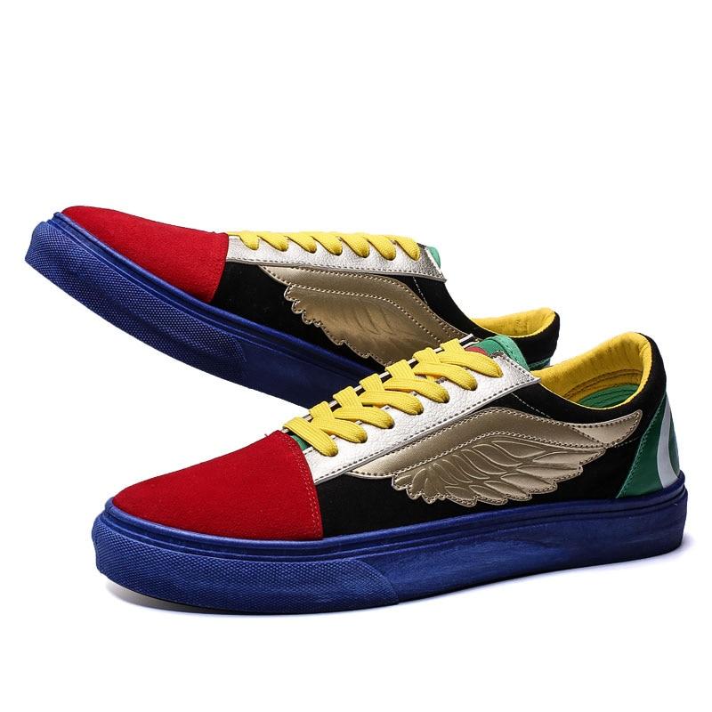 Plate Homme Bouche Printemps Toile Vulcaniser Haute Sneakers Mocassins Qualité Chaussures Casual Red Hiver Hommes forme Plat Avec Plume Automne blue nqfR0II6