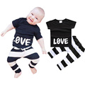 2016 Summer Baby Boys Clothing Set Printed LOVE T-shirts + Striped Pants 2pcs Baby Boys Clothes Set Brand Infant Boys Suit