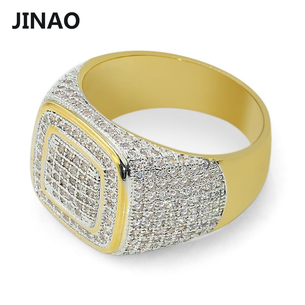 JINAO Hip Hop Micro Pave CZ Stones All Iced Out Bling Ring Gold Filled Hip-Hop Rings for Men Jewelry,gift,party