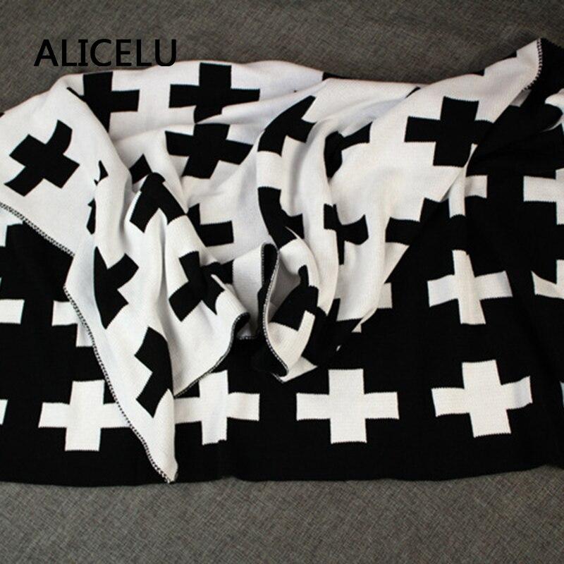 ALICELU Nouveau En Vrac Tissage Couverture Croix Double Visage Différents Américain de Bande Dessinée Enfants Bébé Canapé Literie Couverture En Coton Tricoté