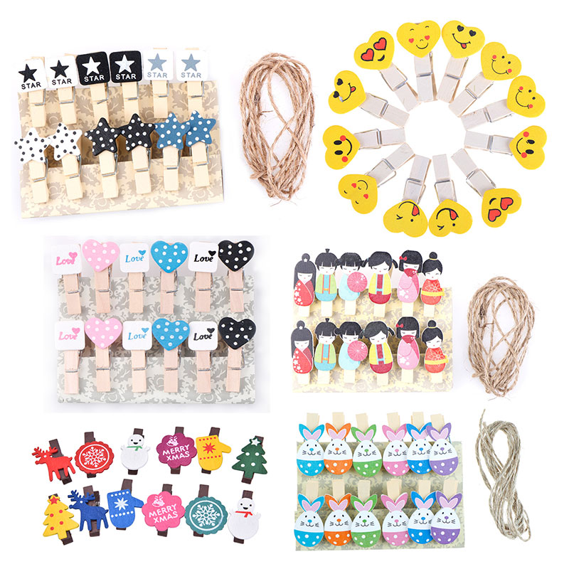 12Pcs Cartoon HEART STAR Wooden Paper Clip Bookmark For Album With Rope Message Stickers Stationery School Office Supply Decor