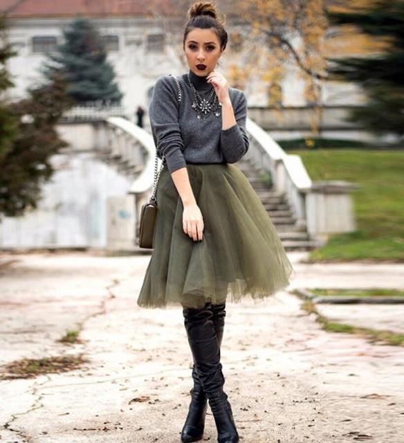 260657ea340c Longueur au genou Armée Vert Tulle Jupes Hiver Automne Femmes Jupe Puffy  custom Tutu Jupe Pour